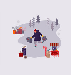 people man character shopping on christmas market vector image