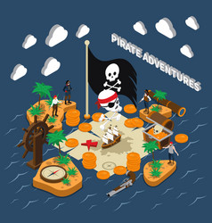 Pirate adventures isometric composition vector