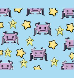 pixel art videogame background vector image