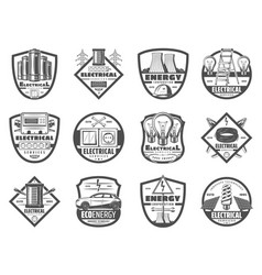 power and energy industry monochrome icons vector image