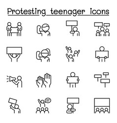 protesting teenager icon set in thin line style vector image