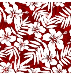 Red and white tropical flowers silhouettes vector