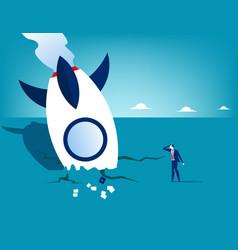 Rocket crash and businessman concept business vector