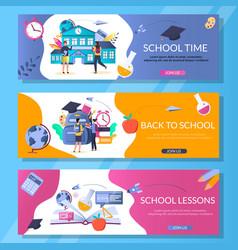 School web banner template set vector