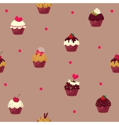 seamless cartoon cake pattern vector image