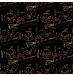Seamless pattern Halloween with themed elements vector