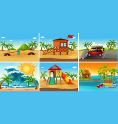 set beach scene vector image