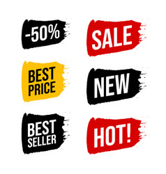 Set discount label with advertising text on brush vector