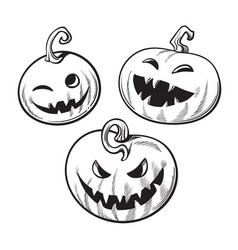 Set of black and white cartoon halloween pumpkins vector