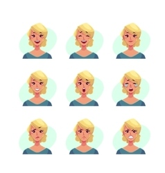 Set of blond woman face expression avatars vector