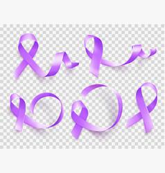 set of realistic purple ribbons symbol of world vector image