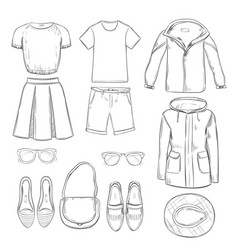 Sketch clothes for walk set vector