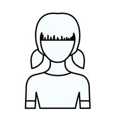 Sketch silhouette of faceless half body girl with vector