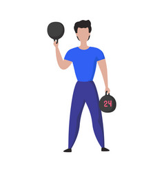 sport training cartoon male doing exercises vector image