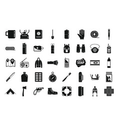 Survival equipment icons set simple style vector