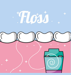 Tooth and gum inside mouth dental floss vector
