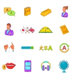 Translator icons set cartoon style vector