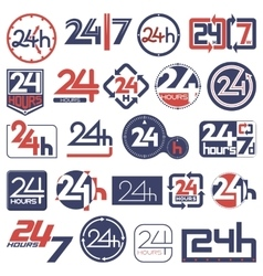 Twenty four hours and seven days in week icons set vector image
