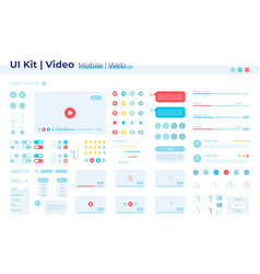Video player ui elements kit vector