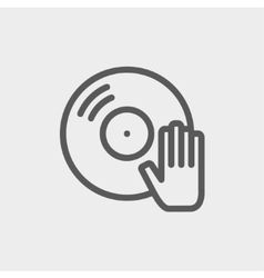 Vinyl disc thin line icon vector