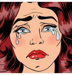 Woman Crying Exhausted Woman Pop Art vector