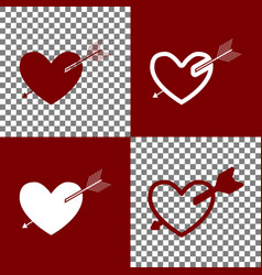 arrow heart sign bordo and white icons vector image vector image