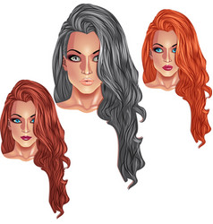 Beautiful girls with long haircuts vector image