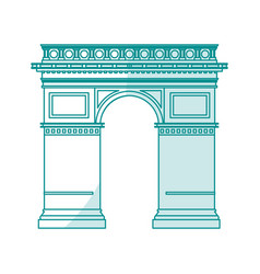 Blue silhouette shading monument arch antique vector