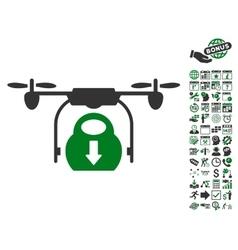 Drone Drop Cargo Icon With Bonus vector image vector image
