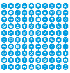 100 tension icons set blue vector image vector image