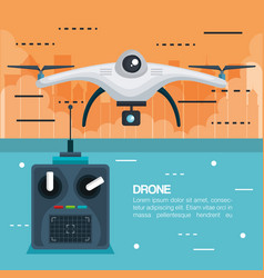 drone with remote control technology icon vector image vector image