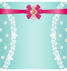 Lace borders with bow vector image vector image