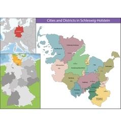 Map of Schleswig-Holstein vector image vector image