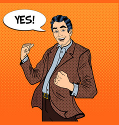 Pop Art Excited Businessman Celebrating Success vector image vector image
