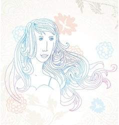 beautiful girl on floral background vector image