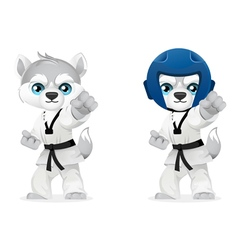 cartoon husky martial arts vector image