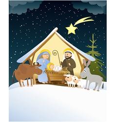 Christmas nativity scene vector image