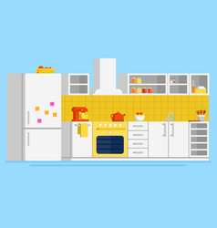 convenient modern kitchen flat design vector image