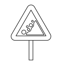 Falling rocks warning road sign icon outline style vector