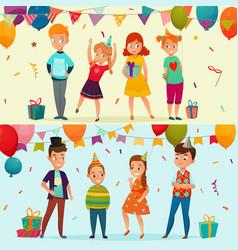 kids party banner set vector image