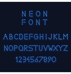 Neon light alphabet letters and number vector image vector image