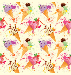seamless pattern with ice cream cones with glaze vector image