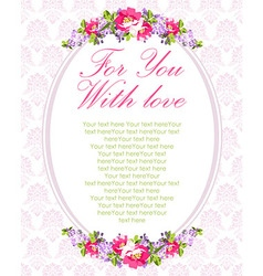 Wedding Card with lilac flowers and rose hips vector image