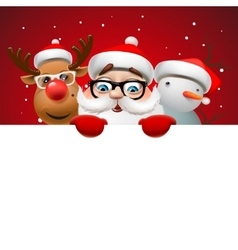 Christmas card with Santa Claus deer and snowman vector image