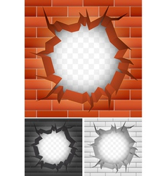 Crack in brick wall vector