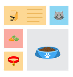 flat icon animal set of root vegetable kitty vector image vector image