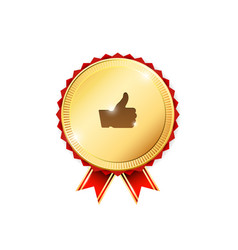 gold badge with thumb up sign vector image