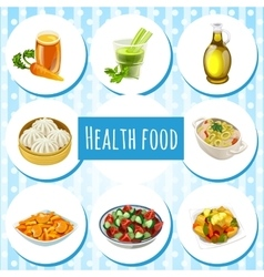 Health food eight icons of dishes and drinks vector image vector image