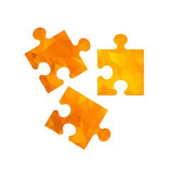 polygon golden icon puzzle vector image vector image