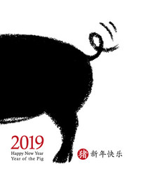 2019 chinese new year of the pig card design vector image
